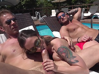 Outdoor fun by the pool with two sluts enjoyable to swap partners