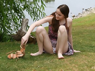 Outdoors film over of flexible amateur playing with her tits and pain in the neck