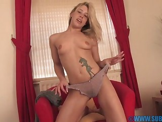 Film over of pretty blonde girl Tammy Oldham drilling her wet cunt