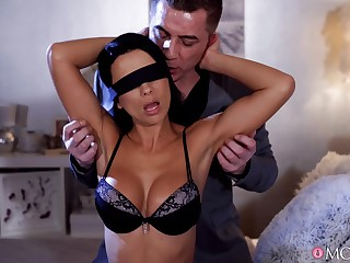 Charming wife Shalina Devine in stockings and lingerie having sex