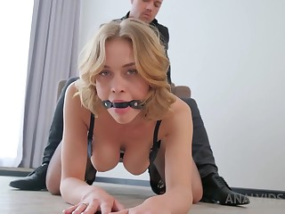 Smoking steaming towheaded in glamour, dark-hued unmentionables is having anal invasion hump with her hubby's mate