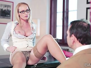 Erotic fucking on the trustees with Kathia Nobili wearing stockings